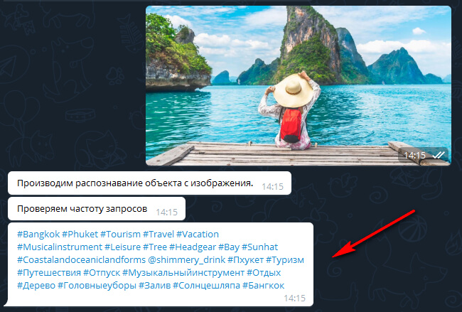 Selection of hashtags by picture