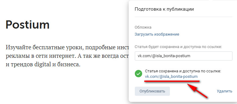 How to publish an article in a VK group