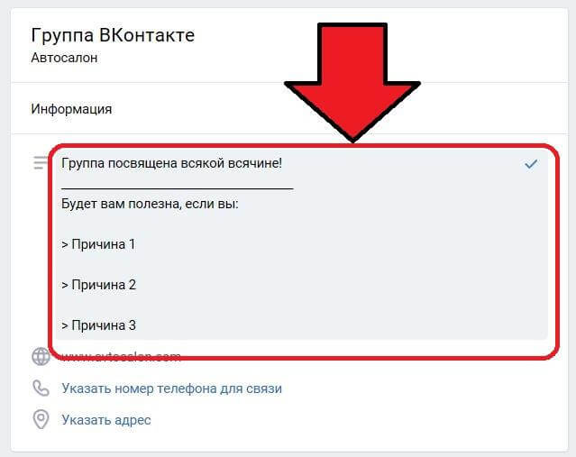 Where is the description of the group in VK