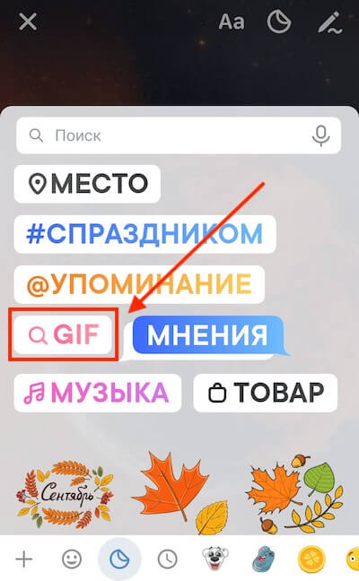 GIF in Stories VKontakte