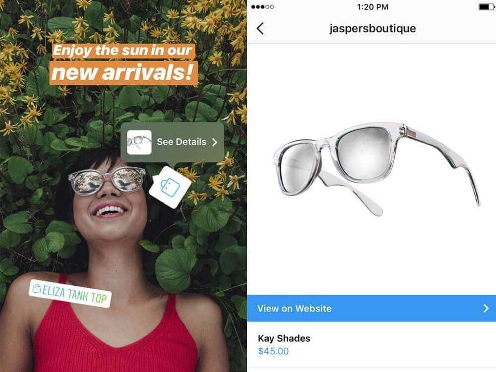 Shopping tags in stories