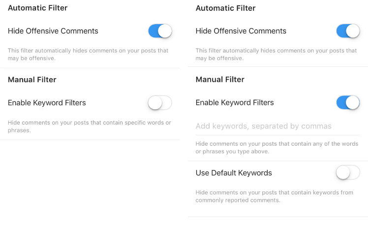 Anti-spam filter for Instagram comments