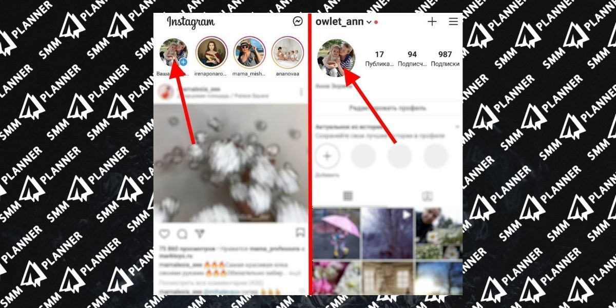 You can click both on the feed view page and in the Profile