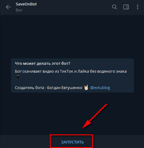 How to download video from Tik-Tok via Telegram bot